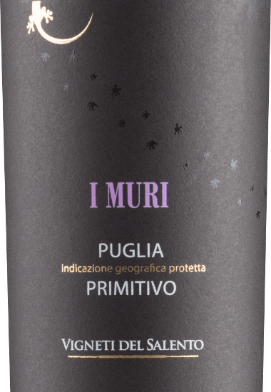 The I Muri Primitivo from Vigneti del Salento has an intense ruby red colour with violet reflections. It has a seductive bouquet of red and black fruits (cherries, plums and dark wild berries). On the palate this Italian red wine is wonderfully soft. The fruity aromas of the bouquet are also present on the palate, where they are juicy and opulent. These are accompanied by an elegant spice of cedar wood and Mediterranean herbs. Velvety tannins accompany the full-bodied, strong body with a lot of melting and warmth. Vinification of the I Muri Primitivo For this Primitivo, the grapes grow in the Salento on red brick soils. This stores the heat and then releases it to the vines at night. This compensates for the large differences in temperature. With the breeze from the sea, these conditions favour the development of particularly intense fruit aromas. After the harvest, the grapes are carefully destemmed and crushed. The must ferments on the skins for about 10 days. Malolactic fermentation is then carried out in stainless steel tanks. Part of the base wine is aged for some time in used barrels before being blended and bottled. Food recommendation for the Vigneti del Salento I Muri Primitivo You enjoy this Primitivo excellently at a temperature of 18 - 19 degrees Celsius to rich appetizers, all pasta dishes, pizza, dark meat and mild cheeses. Awards for the I Muri Primitivo AWC Vienna: Silver for 2016 Mundus Vini: Silver for 2016 Challenge International du France: Gold for 2014