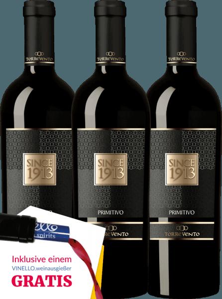 3er Vorteils-Weinpaket - Since 1913 Primitivo Puglia IGT 2016 - Torrevento von Torrevento