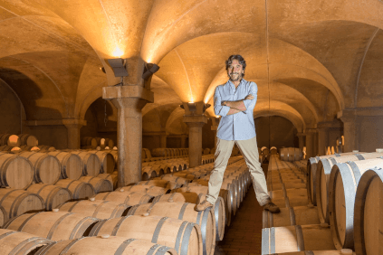 In the barrique cellar of La Spinetta