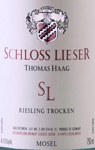SL Riesling trocken 2018 - Schloss Lieser von Weingut Schloss Lieser
