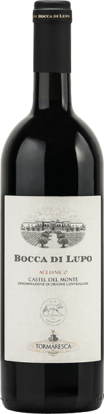 Tormaresca's Bocca di Lupo Castel del Monte DOC is a terroir wine with an impressive personality for lovers of Apulian wines. In the glass, the Bocca di Lupo shines in a dense, deep ruby red. On the nose a complex bouquet opens with intense, complementary aromas of red fruit and dried fruit, cherries, mulberries, plums, followed by spices reminiscent of liquorice, pepper, tobacco, herbs and balsamic notes. This Aglianico is elegant on the palate, with firm tannins, exceptional structure and full body, the texture balanced, tasty round and harmonious. Long-lasting and with a good persistence in the finish. Vinification of Tormaresca Bocca di Lupo Castel del Monte DOC The grapes of this pure Aglianico are harvested manually at the time of optimal ripeness. After pressing, the must is macerated in stainless steel tanks at about 25° Celsius with the skins and alcoholic fermented. The skins are gently pumped under again and again with a special technique that allows the gentle and even extraction of colour, aromas and tannins. After the extraction from the skins, the wine is immediately transferred into French oak barriques, in which the malolactic fermentation takes place and then the ageing for 15 months. After bottling, the wine matures for another 24 months in the bottle before being sold. Bocca di Lupo was born from the desire to rediscover this noble and austere indigenous grape variety and reinterpret it as an Apulian terroir wine. From fully ripe grapes, dense and mature wines with great development potential over years are produced . Bocca di Lupo represents the culmination of years of hard work and research to vinify a wine according to the ideas of Tormaresca, which began in 1998. Food pairing for the Bocca di Lupo Castel del Monte DOC by Tormaresca Enjoy elegant, characterful red wine from Apulia with typical regional dishes, red and dark meat and game, hearty ripe and spicy cheeses or also solo as fireplace or meditation wine. We reccomend to open the Bocca di Lupo about 2 hours before serving. Awards of the Bocca di Lupo Castel del Monte of Tormaresca Gambero Rosso: 2 red glasses for 2010 and 2013 Bibenda: 5 grapes for 2010 and 2013 Veronelli Guide: 3 stars for 2010 and 2013; 3 stars super for 2011 Doctor Wine: 93 points for 2013 Falstaff: 92 points for 2010; 93 points for 2013 Wine Advocate Robert M.Parker: 93+ points for 2010; 91 points for 2012 Wine Spectator: 91 points for 2012 and 2011 James Suckling: 90 points for 2012 Vitae AIS: 3 vines for 2010 Vini Buoni d'Italia: 4 stars for 2010