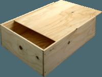 B-STOCK - 3 bottles wine wooden box with sliding lid