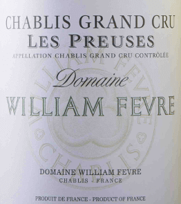 """The Chablis Grand Cru Les Preuses Domaine AOC by Domaine William Fèvre is already a masterpiece. In the glass, this Burgundy white wine presents floral, fruity aromas and intense mineral notes, with light smoky spicy hints. Very round and soft on the palate, complex, full-bodied and refined, with elegant structure and acidity. Long, intense, silky finish. A masterful Grand Cru Chablis with maturity potential! Vinification of the Chablis Grand Cru Les Preuses The winery Domaine William Fèvre is considered as the best of Chablis's winery. The chief oenologist of William Fèvre has made it his task to """"let the wine speak through his terroir. The wines convince with terroir and sorts-typical minerality and finesse.The Chardonnay grapes for the Chablis Grand Cru Les Preuses are cultivated in the Domaine's homonymous position and are selectively read manually to vinify only the best vine. After the harvest, the grapes are gently pressed and temperature-controlled fermented and matured. The wine ripens 14 to 15 months, of which 50 to 60% of the vintage in used French oak barrels, the remaining must in stainless steel vats. From 5 to 6 months the wine in the wooden barrels stays on the fine yeast (sur lie). The end of the maturationoccurs in small stainless steel tanks. Food pairing for the Chablis Grand Cru Les Preuses by Domaine William Fèvre This compact, complex French Chablis Grand Cru fits very well to fish and shellfish, seafood and sea fish, poultry and white meats, grilled or with sauces. Try the perfect combination with lobster ravioli! Awards The Wine Advocat Robert Parker - 92 points for 2015"""