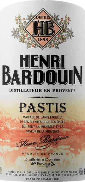 """The pastis is yellowish-brown, has greenish reflexes due to its wonderful herbs. It is clear and brilliant. The aromas of plants and exotic spices, such as cardamom, ginger and tonka, rise immediately into your nose. After an intense, almost surprising """"attack"""" of exclusive spices, the warmth and comfort of wormwood follows, spreading a complex variety of aromas throughout the mouth without exaggerating. The Pastis has a long finish, but is not intrusive. Aromas of cinnamon, pepper, nutmeg and ginger play in the foreground. Food recommendation for Pastis Grand Cru Henri Bardouin Henri Bardouin's speciality is a wonderful accompaniment to food due to its fineness. Due to its finesse, it is an excellent accompaniment to fish, vegetables, various dips and alioli. It can also be tasted with spicy dishes. Awards for the Bardouin Pastis Concours Général Agricole de Paris: Gold Medal International Wine & Spirit Competition: Gold Medal"""