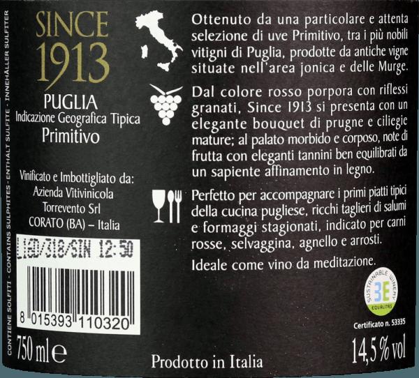 Since 1913 Primitivo Puglia IGT 2016 - Torrevento von Torrevento