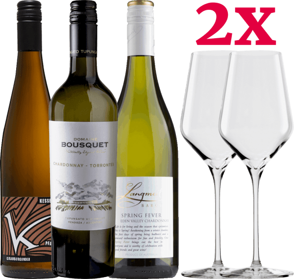 3x White wine discount pack + 2 Stölzle Quatrophil glasses von VINELLO