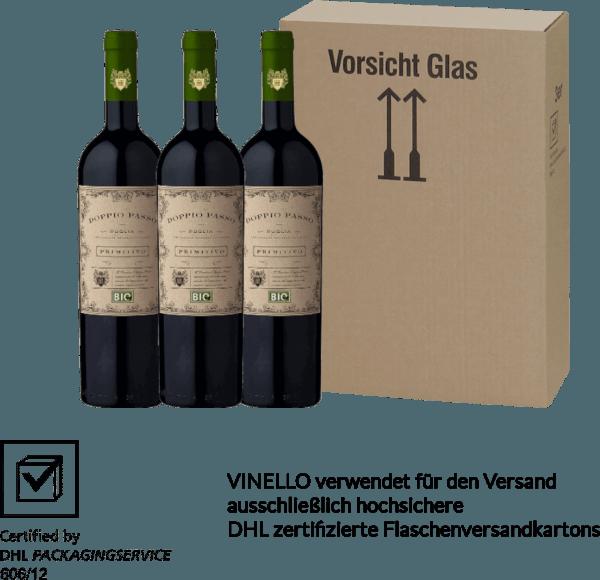 Der Doppio Passo Bio Primitivo von CVCB aus dem italienischen Weinanbaugebiet IGT Puglia ist ein herrlich vollmundiger, konzentrierter Rotwein. Die Nase wird von schwarzen Früchten und feinen Röstaromen verwöhnt. Am Gaumen überzeugt dieser Wein mit einer großen Fruchtfülle und cremigen Schmelz. Genießen auch Sie diesen italienischen Bio-Rotwein in unserem 3er Vorteilspaket. Mehr über diesen Rotwein aus Italien erfahren Sie in dem Einzelartikel des CVCBDoppio Passo Bio Primitivo.