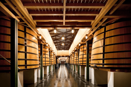 In the wine cellar of Chateau Mouton Rothschild