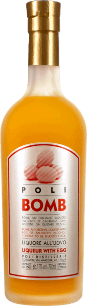 The Poli Bomb Liqueur with Eggfrom Jacopo Poli is a delicious creamy liqueur with egg, traditionally produced from fresh milk, fresh egg yolks, sugar and the est known distillate from the Venetian area, the grappa. This liqueur with eggpresents itself in a creamy vanilla yellow and with the typical flavor - intense and fragrant and fine grappa notes. Delicate and lush at the same time, and deliciously creamy is his taste. Food recommendation of theJacopo PoliPoli BombLiqueur with Egg Enjoy thisLiqueur with eggchilled as a digestif, on the cream pie, on ice cream, with a wild berry cocktail for dessert or pure.