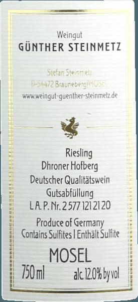 Dhroner Hofberg Riesling GD 2019 - Günther Steinmetz von Weingut Günther Steinmetz