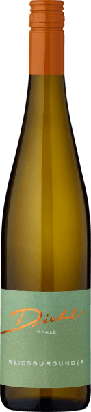 Im Glas offenbart der Weißburgunder aus der Feder von A. Diehl eine brillant schimmernde hellgelbe Farbe. Am Gaumen eröffnet der Weißburgunder von A. Diehl wunderbar trocken, griffig und aromatisch.Trotz seines trockenen Auftretens am Gaumen überzeugt dieser Weißwein mit zartem Schmelz und fein eingewobener Restsüße. Leichtfüßig und komplex präsentiert sich dieser knackig und leichte Weißwein am Gaumen. Durch seine präsente Fruchtsäure zeigt sich der Weißburgunder am Gaumen außergewöhnlich frisch und lebendig. Das Finale dieses jugendlichen Weißwein aus der Weinbauregion die Pfalz besticht schließlich mit gutem Nachhall. Vinifikation des Weißburgunder von A. Diehl Dieser Weißwein legt das Augenmerk klar auf eine Rebsorte, und zwar auf Weißburgunder. Für diesen wunderbar eleganten reinsortigen Wein von A. Diehl wurde nur makelloses Traubenmaterial verwendet. Nach der Lese gelangen die Weintrauben zügig in die Kellerei. Hier werden sie selektiert und behutsam gemahlen. Es folgt die Gärung im Edelstahltank bei kontrollierten Temperaturen. Der Vergärung schließt sich eine Reifung für einige Monate auf der Feinhefe an, bevor der Wein schließlich auf Flaschen gezogen wird. Speiseempfehlung für den Weißburgunder von A. Diehl Dieser Weißwein aus Deutschland sollte am besten gut gekühlt bei 8 - 10°C genossen werden. Er passt perfekt als Begleiter zu Wok-Gemüse mit Fisch, Omelett mit Lachs und Fenchel oder Spaghetti mit Joghurt-Minz-Pesto.