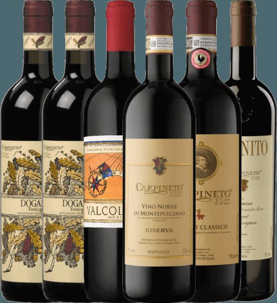 Mit diesem 6er Probierpaket nehmen wir Sie mit auf die Reise nach Italien zum toskanischen Spitzen-Weingut Carpineto. Mit dabei sind fünf ausgewählte Rotweine des italienischen Weingutes, welche Sie solo zu gemütlichen Abenden mit Familie und Freunden oder auch zu Ihrem perfekten Dinner genießen können. Das Carpineto Kennenlernpaket beinhaltet: 2 Flaschen: Dogajolo Toscano Rosso IGT 1 Flasche: Valcolomba Merlot Maremma IGT 1 Flasche: Chianti Classico DOCG 1 Flasche: Farnito Cabernet Sauvignon Toscano IGT 1 Flasche: Vino Nobile di Montepulciano Riserva DOCG