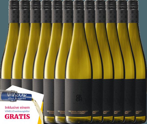 12er Vorteils-Weinpaket - Grohsartig Weißburgunder Chardonnay 2019 - Groh von Weingut Groh