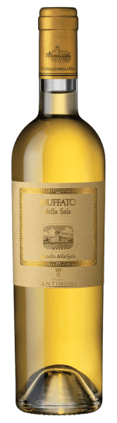The Muffato della Sala Umbria IGT from Castello della Sala glows intensely golden yellow in the glass. On the nose, the Muffato is a delight with delicate and elegant aromas, floral notes but above all ripe fruit, apricot and peach, citrus fruits, supplemented by salty and mineral nuances. On the palate the complex play of aromas continues, sweetness and freshness complement each other harmoniously and give this noble sweet wine its fine texture and pleasant fullness. The finish is long with a delicate spicy, fresh and harmonious aftertaste. Vinification of Muffato della Sala from Castello della Sala The unique Italian dessert wine Muffato della Sala is vinified from grapes harvested at the end of October and beginning of November overripe, after the Botrytis cinerea developed with the morning autumn fog, the so-called noble rot, which reduces the water content of the grapes and concentrates aromas and sugar content. This gives the Muffato della Sala a harmonious and incomparable taste. The first vintage was vinified in 1987 and was composed of Sauvignon 50%, Grechetto 30% and Drupeggio 20&´%. In the following years, the composition was varied, up to the present cuvée of  Sauvignon Blanc 60% and 40% Traminer, Riesling, Sémillon and Grechetto. The grapes are harvested manually, picking several times in the same vineyard, depending on the presence of noble rot on the individual grapes. In the cellar a further manual selection takes place before pressing. The must then ferments for 18 days at a controlled temperature of approx. 17°C. The sweet wines obtained in this way are then transferred to French oak barriques from Allier and Tronçais and matured for 6 months, followed by the cuvée from the individual wines and further maturing and harmonization of the Muffato for several months in stainless steel tanks before it is finally bottled.Muffato della Sala is an exceptional and unique terroir wine, produced in very limited quantities and only in the best vintages. Food pairings for Muffato della Sala Umbria IGT from Castello della Sala Sophisticated aromatic, noble sweet, fascinating harmonic, this dessert wine inspires! Enjoy it solo as a meditation wine, as a conclusion after a meal, with fine blue cheese with acacia honey, with biscuits, crumble cake, fruit bread, Christmas cookies. Awards for the Muffato della Sala by Castello della Sala Gambero Rosso: 2 glasses for 2011 and 2010 Wine Advocate: 94 points for 2011, 96 points for 2009 Antonio Galloni: 90 points for 2010 I Vini de L'Espresso: 17 points for 2010 Falstaff: 93 points for 2009, 91 points for 2008