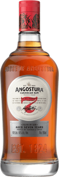 This 7-year-old rum presents itself in a dark shiny amber color in the glass. The Angostura 7yo by Angostura Rum captivates with a delicate, smoky fragrance and spicy notes of chocolate and maple syrup. Fine spicy and roasted notes complete its powerful, intense, aromatic and full-bodied taste. He is both a cool cocktail or a solo treat.